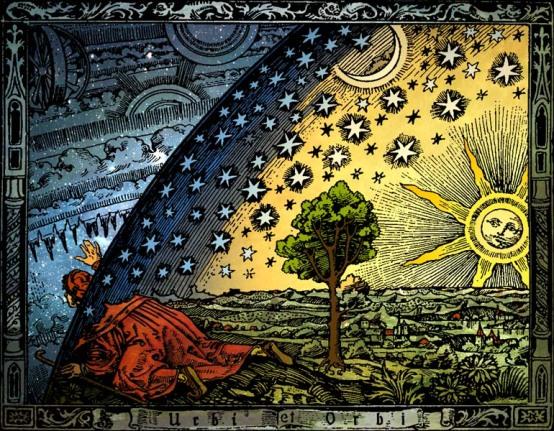 Ortaçağda, Dünya'nın evrenin merkezi olduğuna ve tüm gökcisimlerinin dünya etrafında döndüğüne inanılıyordu. (Camille Flammarion, 1888.)