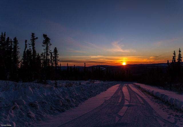 Fairbanks'ta gün batımı.